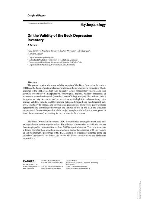 beck depression inventory ii pdf beck depression inventory ii pdf images reverse search