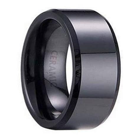 Black Ceramic Men's Wedding Ring, Polished Beveled Edges  7mm