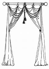 Curtain Sketch Drawing Template Curtains Window Coloring Drapes sketch template