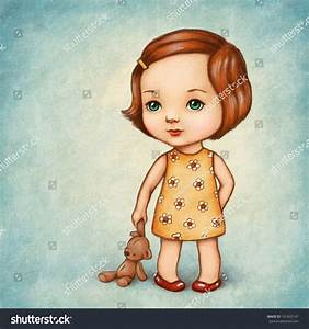 Drawing Cute Little Girl Teddy Bear Stock Illustration ...