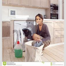 Girl In The Laundry Room Asm Royalty Free Stock Images