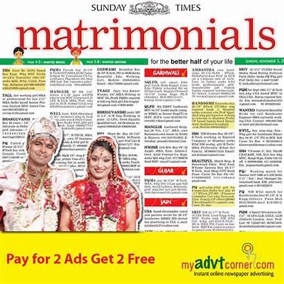 Newspaper Ads India Times Matrimonial Advertisement Classified