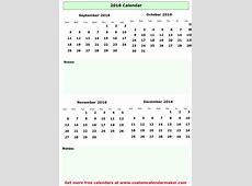 September to december 2016 calendar printable