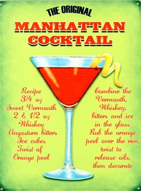 stylish tv wall the original manhattan cocktail recipe tin sign