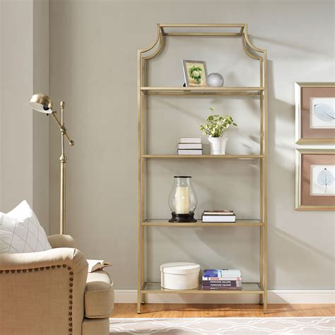Glass Etagere Bookcase by Aimee Gold Glass Etagere Crosley Furniture Free Standing