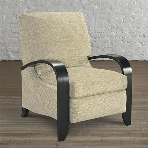 tight box accent recliner with wood arms