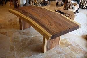 Tisch aus einer baumscheibe suar l nge 200 220 cm der for Tisch baumscheibe
