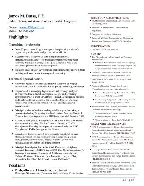 transportation planning cover letter exle best