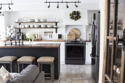 white and dark wood kitchen our modern farmhouse kitchen makeover the reveal 656 | white black and wood kitchen