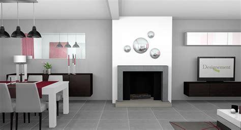salon et cuisine moderne salle a manger peinte en gris
