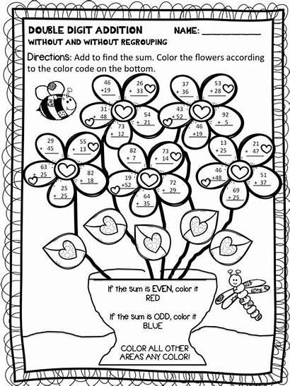 Grade 2nd Worksheets Number Spring Addition Digit