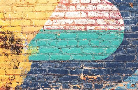 picture yellow green blue brick wall grunge
