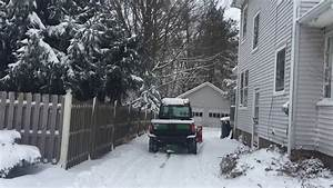 Snow Plowing With John Deere 825i Gator W  Boss Snow Plow