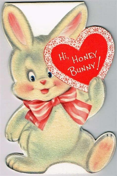 valentine vintage honey bunny flocked rabbit norcross card