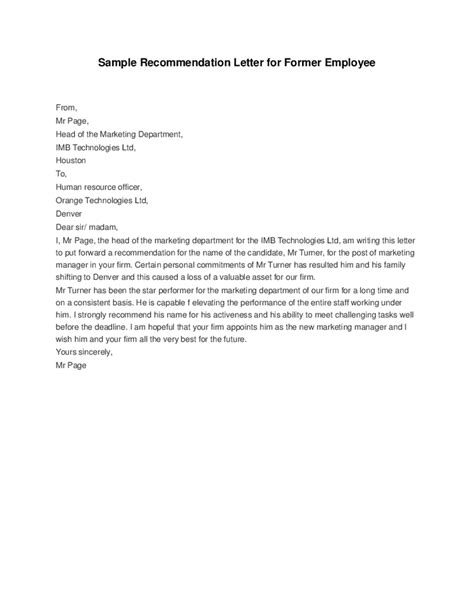 Letter Of Recommendation Sle For Former Employee The Sle Letter To Meet Deadline Just B Cause