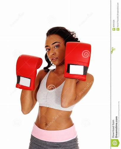 Boxing Gloves Wearing Woman Athletic Pretty