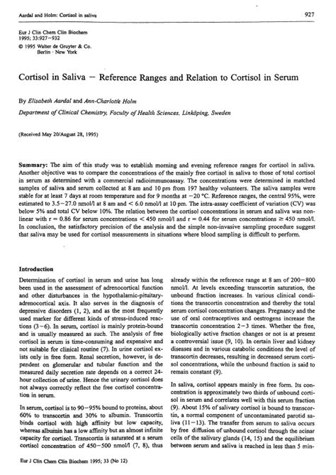 cortisol in saliva reference ranges and relation to cortisol in serum clinical chemistry and