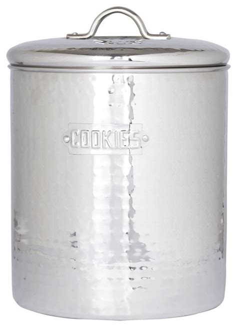 stainless steel kitchen canisters stainless steel hammered cookie jar with fresh seal cover