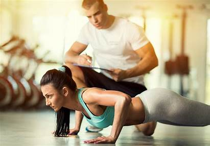 Training Woman Personal Doing Exercises Push Trainer