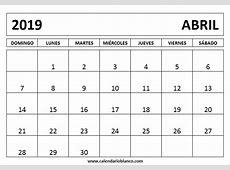Calendario abril 2019 para imprimir 2019 2018 Calendar