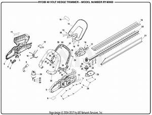 Homelite Ry40600 40 Volt Hedge Trimmer Parts Diagram For