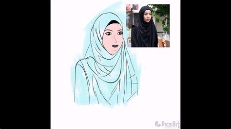 Hijab menjadi ciri khas gaya busana wanita muslimah. Nyoba sketsa Kartun Muslimah By: ErL - YouTube
