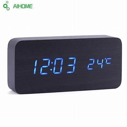 Clocks Clock Alarm Led Desktop Designer Wooden