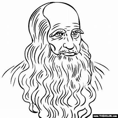 Leonardo Vinci Da Self Portrait Coloring Pages
