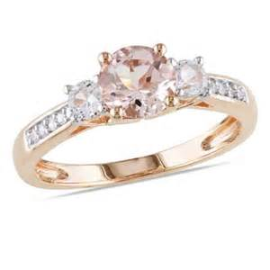 lab created sapphire engagement rings 6 0mm morganite lab created white sapphire and accent engagement ring in 10k gold