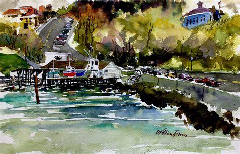 sketch paint  busy dock wharf lake