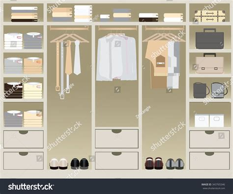 flat design walk closet interior design stock vector
