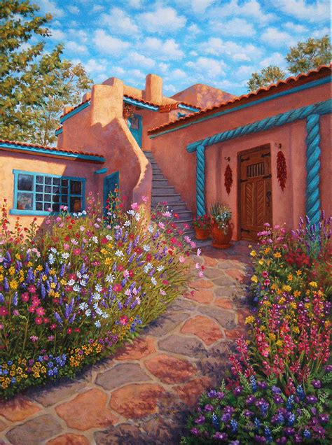 adobe house plans with courtyard courtyard garden in taos painting by johanna girard