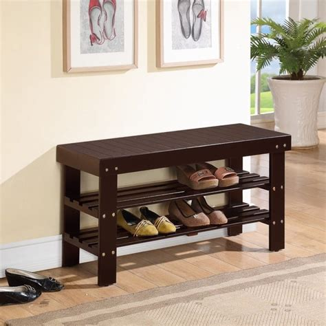 shop solid wood espresso finish bench  shoe storage