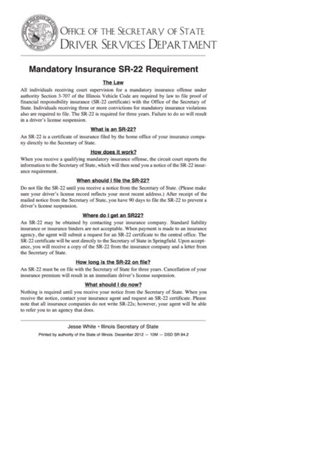Submit a payment by mail or in person, select for details of reinstatement fees and payment options. Mandatory Insurance Sr-22 Requirement (Instructions) - Illinois Secretary Of Forms printable pdf ...