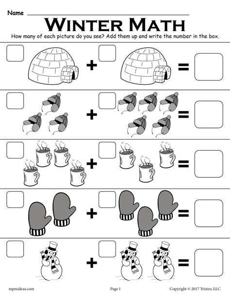 """Free Winter Themed """"addition With Pictures"""" Math Worksheet! Supplyme"""