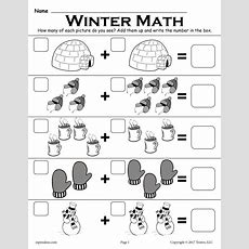 "Free Winter Themed ""addition With Pictures"" Math Worksheet! Supplyme"