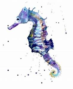 seahorse watercolor | dragonfly art | Pinterest