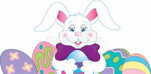 Easter Bunny Border With Dyed Eggs Royalty Free Stock ...