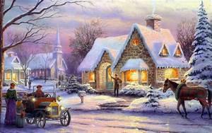 thomas kinkade memories of christmas art painting winter ...