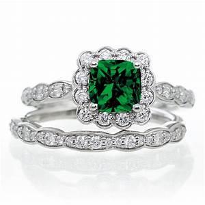 2 carat princess cut emerald and diamond wedding ring set With emerald and diamond wedding ring sets