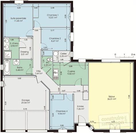 plan maison en l plain pied 3 chambres maison de plain pied dé du plan de maison de plain