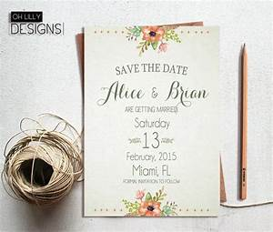 rustic save the date printable save the date floral save With digital wedding invitation cards online