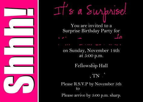 Surprise Party Invitation Wording Template  Best Template. Birthday Invitation Card Online. Operation Game Board Template. New Graduate Nursing Jobs. Make Your Own Magazine Cover. Blue T Shirt Template. Blank Door Hanger Template. Unique Free Resume Template Downloads. Wedding Planner Template Free