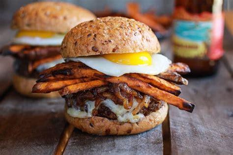 Epic Crispy Quinoa Burgers Topped With Sweet Potato Fries