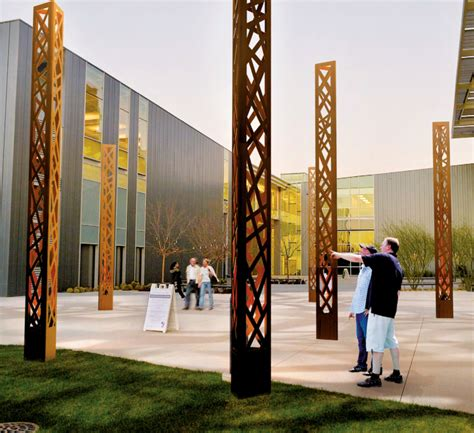 Striking Outdoor Lighting by Streetlife Open Pillar Corten Steel Lighting Column 1 Of
