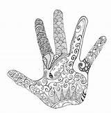 Hand Zentangle Coloring Adult sketch template