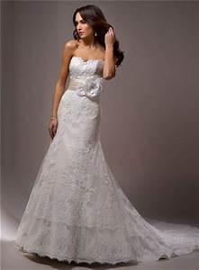 slim a line strapless vintage lace wedding dress with With strapless lace wedding dress with sash