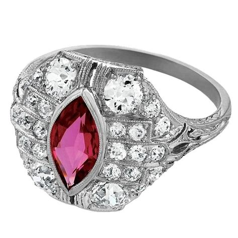 deco ruby ring deco ruby and platinum ring for sale at 1stdibs