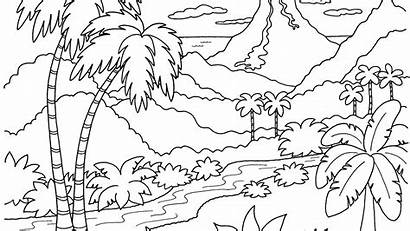 Coloring Scenery Nature Tropical Pages Barbie Adult