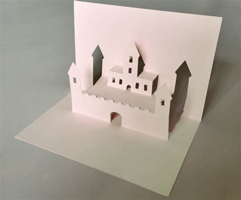 castle pop  card template easy diy paper craft project